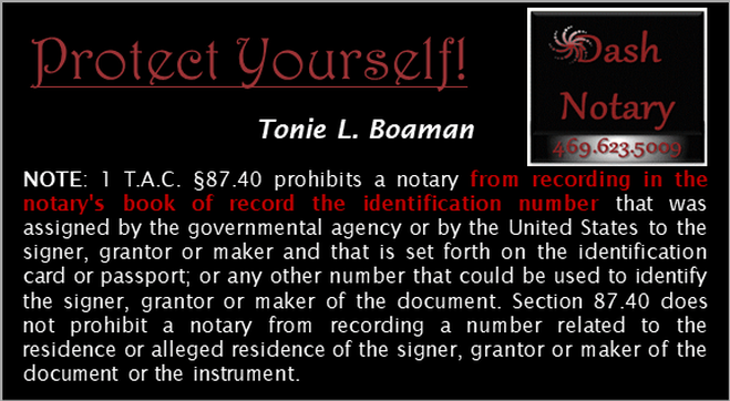 Dash Notary Tonie Boaman Protecting People From Identy Fraud